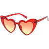 Women's Oversize Color Tone Heart Shape Cat Eye Sunglasses C576
