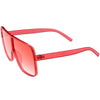 Oversize Festival Flat Top Translucent Color Tone Sunglasses C582