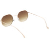 Retro Modern Geometric Octagon Slim Metal Sunglasses C590