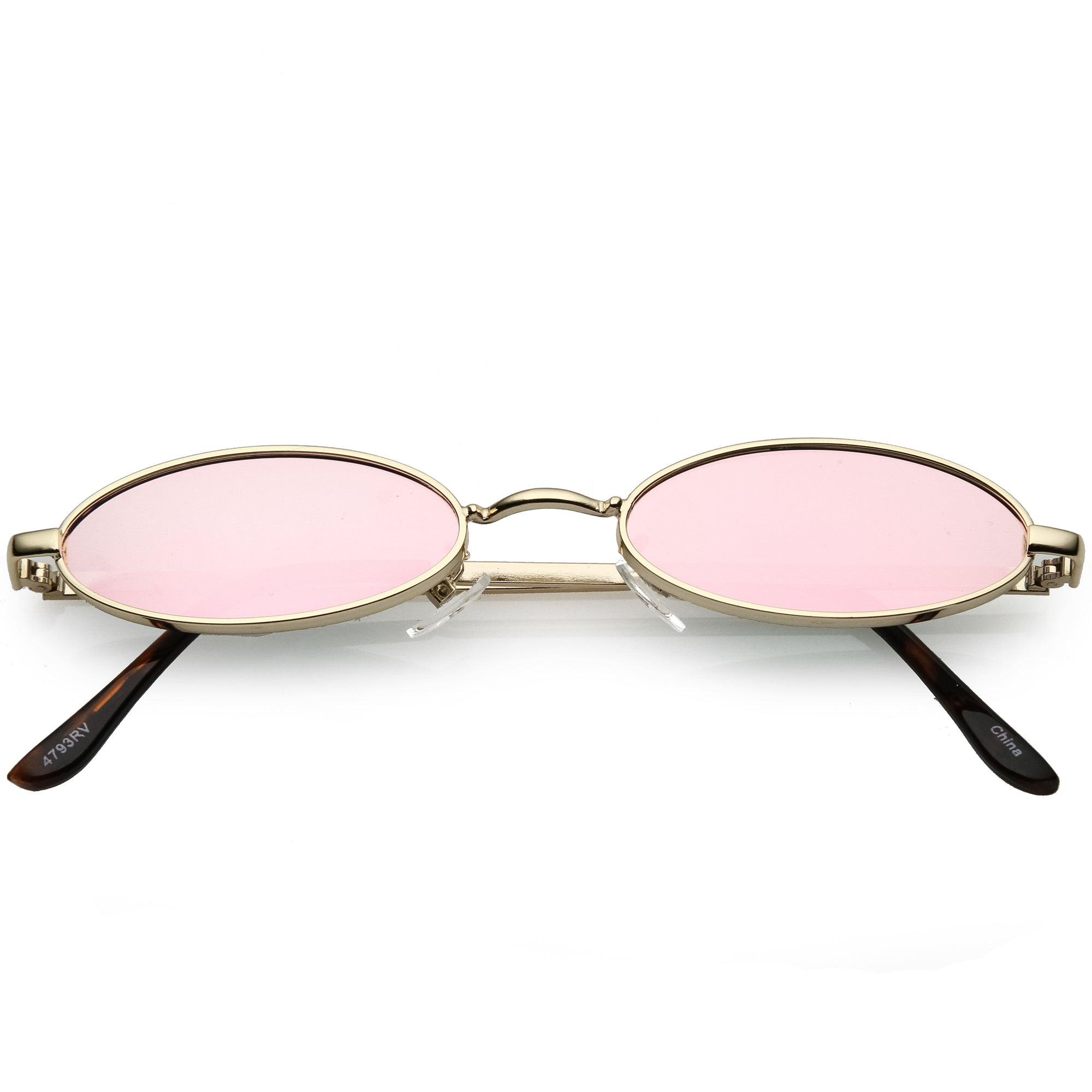 Small Retro 1990's Oval Metal Mirrored Lens Sunglasses C594