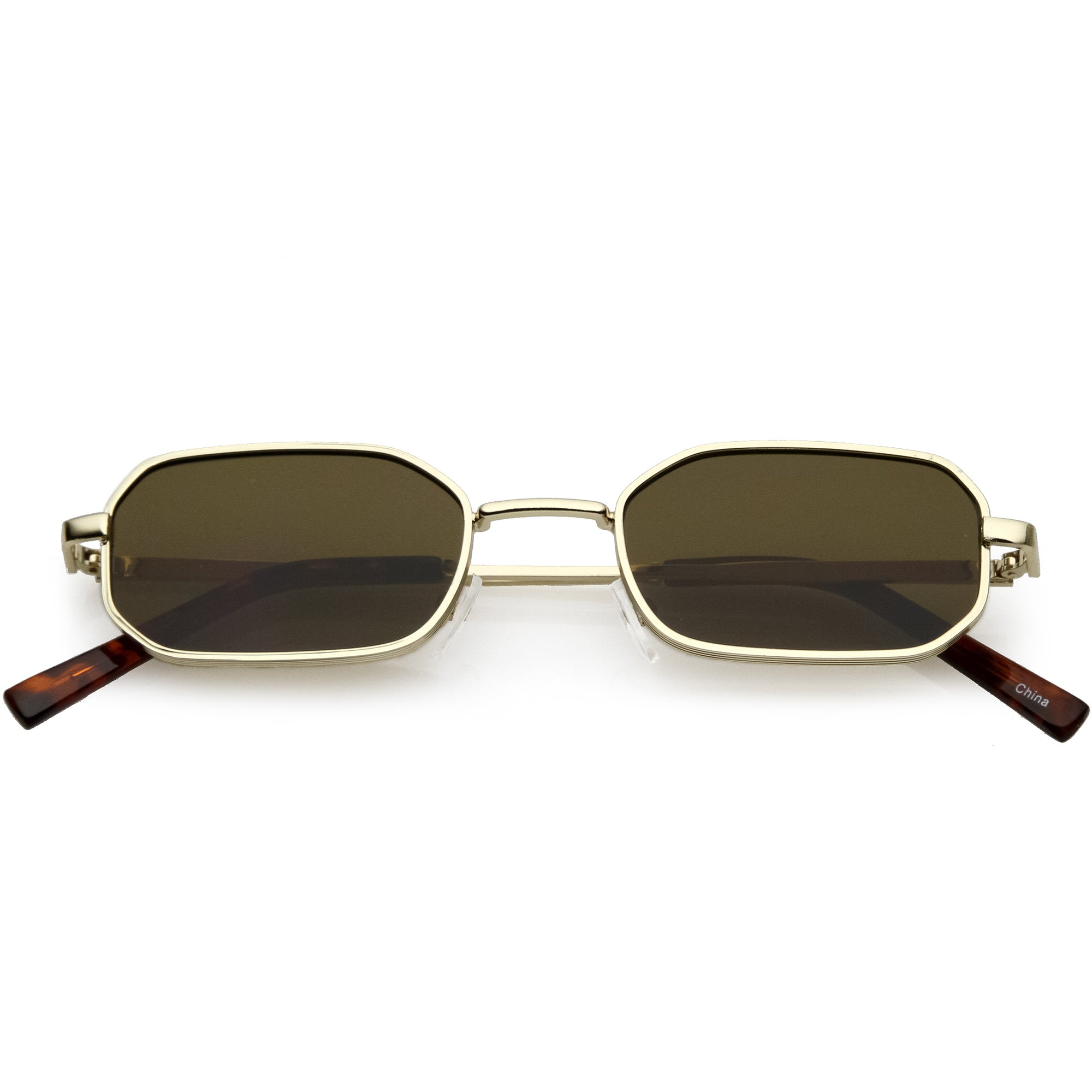 Trending Dapper Small Retro Geometric Slim Metal Sunglasses C596