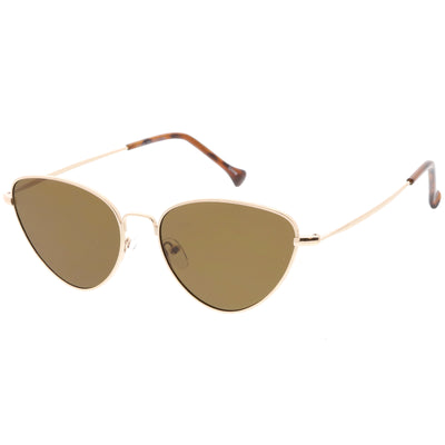Women's Retro Slim Metal Frame Flat Lens Cat Eye Sunglasses C600