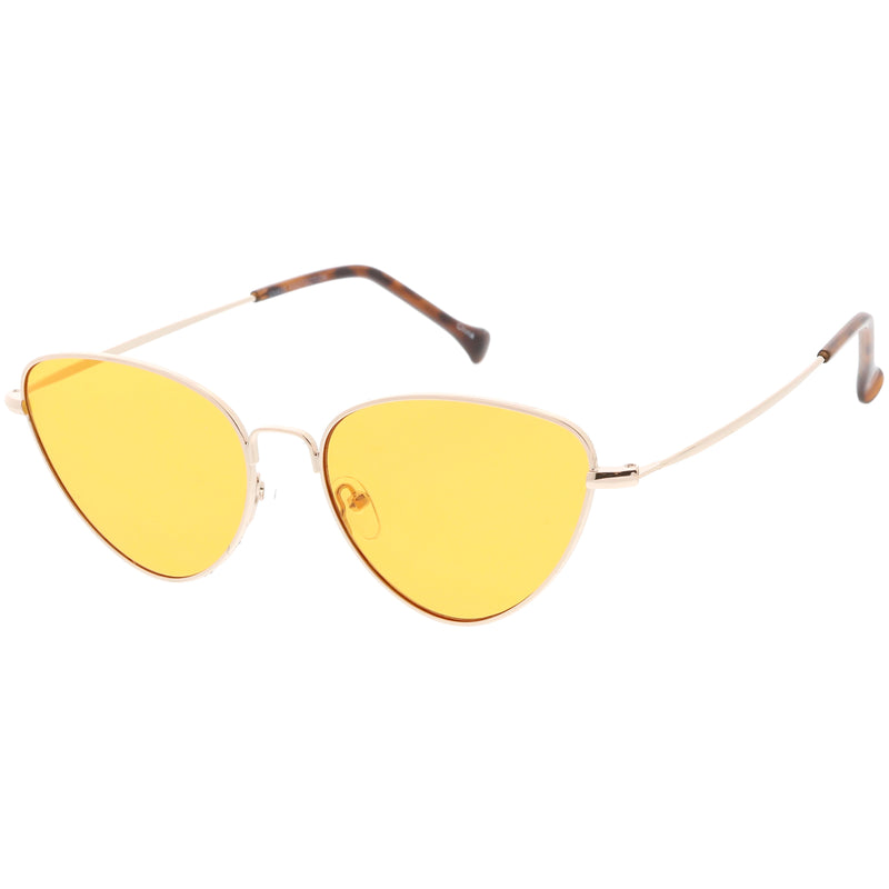 Slim Metal Color Tinted Lens Fashion Cat Eye Sunglasses C602