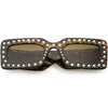 Retro Rectangular Handcrafted Rhinestone Sunglasses C611