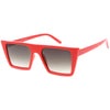 Retro Flat Top Neutral Colored Square Sunglasses C619