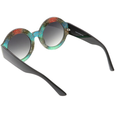 Women's Oversize Glitter Two Tone Round Sunglasses C622