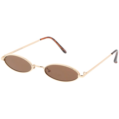 Retro 1990's Small Oval Metal Flat Lens Sunglasses C626