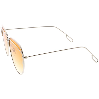 Modern Metal Slim Crossbar Gradient Lens Aviator Sunglasses C628