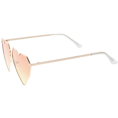 Women's Oversize Geometric Metal Heart Shape Sunglasses C629