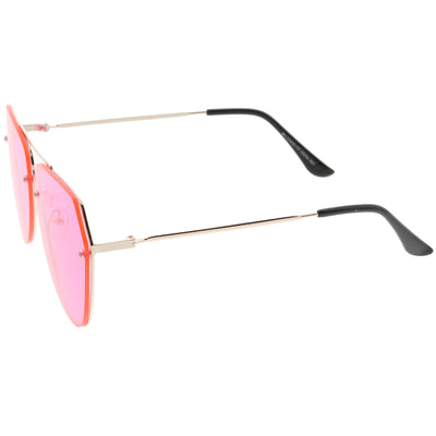 Retro Modern Geometric Flat Top Color Tone Aviator Sunglasses C630