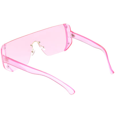 Retro Futuristic Oversize Color Mirrored Lens Shield Sunglasses C634