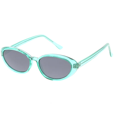 Small True Retro Oval Clout Transparent Frame Sunglasses C644