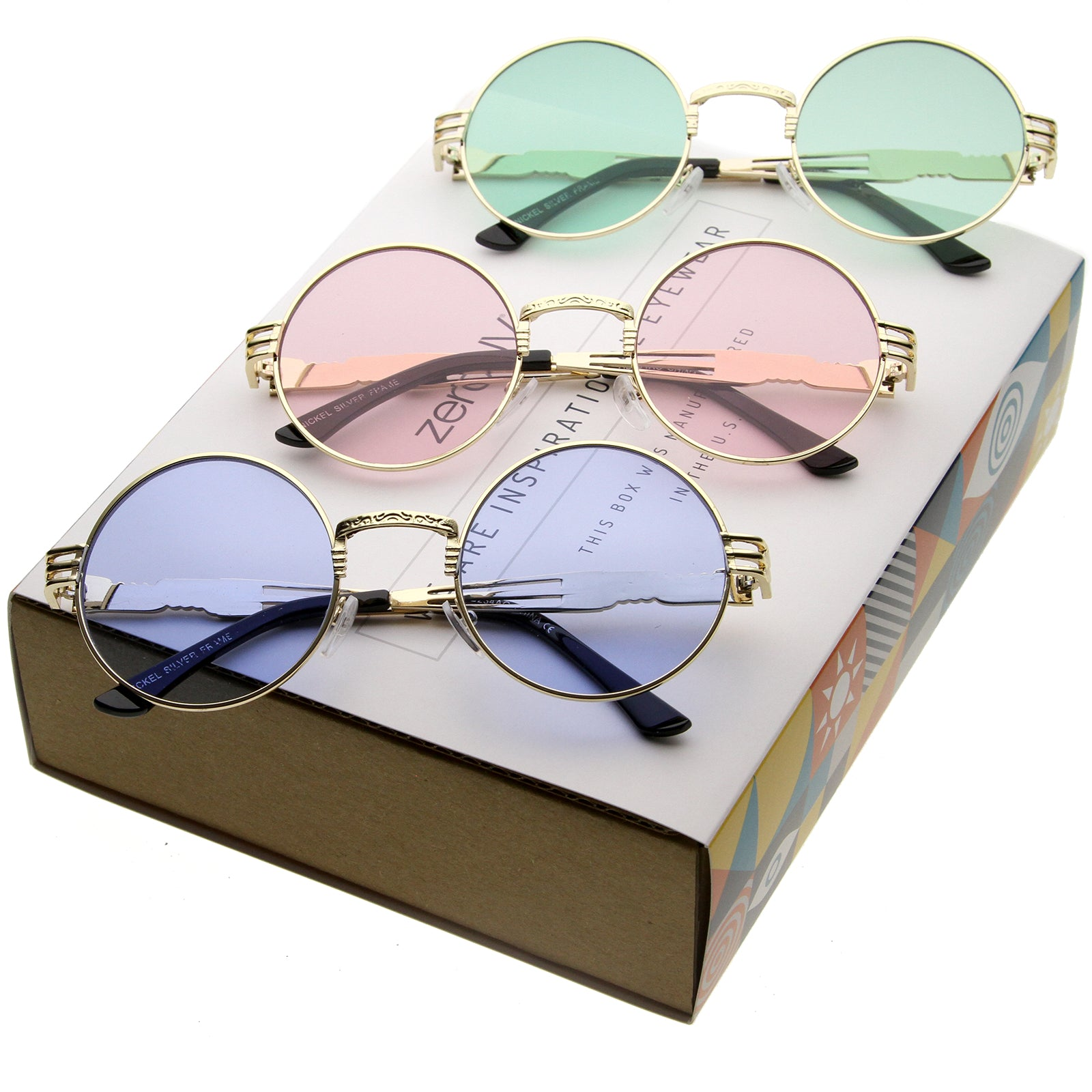 Retro Festival Oversize Round Color Tone Metal Sunglasses C664 [Promo Box]