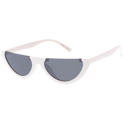 Women's Retro Color Tone Half Frame Flat Cut Sunglasses C685