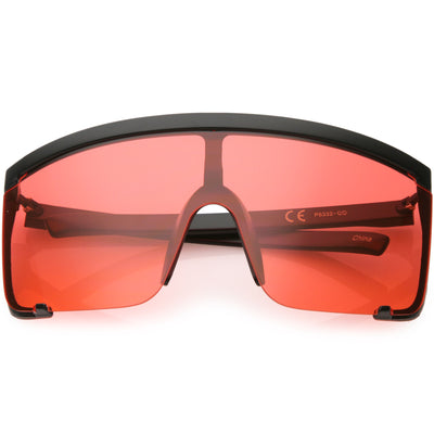 Oversize Retro Color Tone Sports Shield Flat Top Sunglasses C686