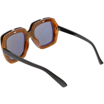Retro European Oversize Flip Up Square Sunglasses C713