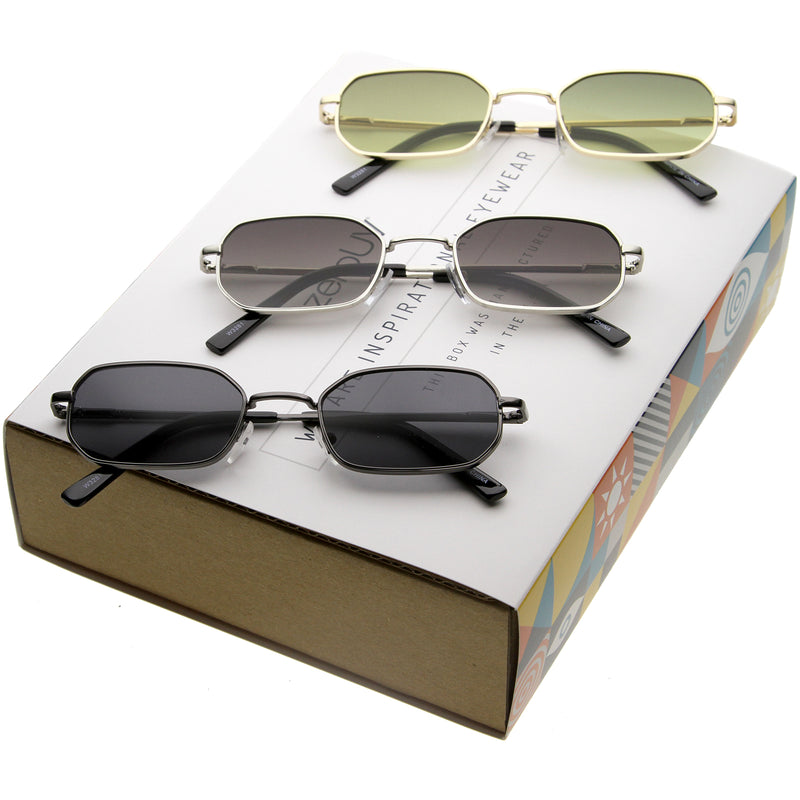 Retro Unisex Small Rectangle Metal Sunglasses C720 [Promo Box]