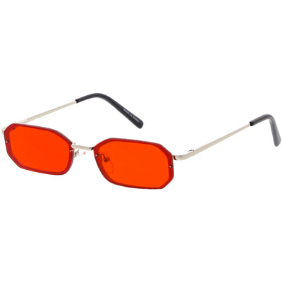 Retro 1990's Jewel Cut Small Rectangle Color Tone Lens Sunglasses C721