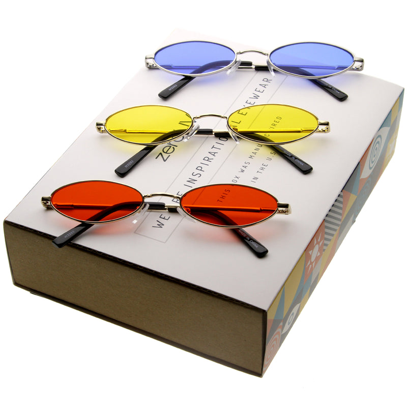 Retro Trendy 1990's Small Oval Color Tone Sunglasses C722 [Promo Box]