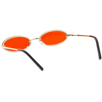 Retro Small 1990's Jewel Cut Oval Color Tone Sunglasses C723