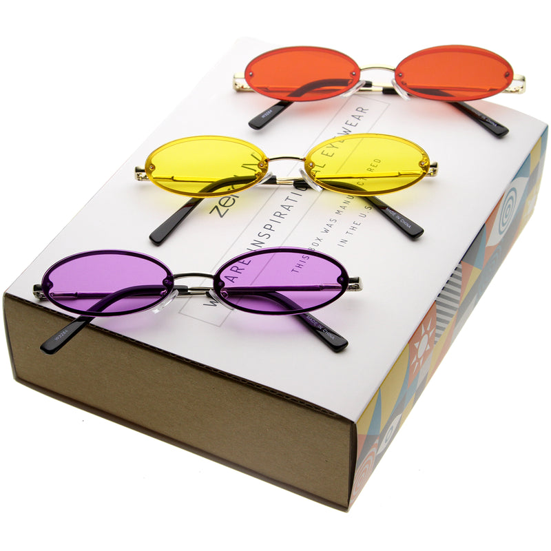 Retro 1990's Small Round Oval Color Tone Metal Sunglasses C723 [Promo Box]