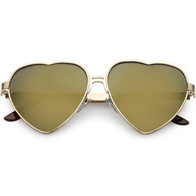 Women's Oversize Metal Heart Shaped Mirrored Lens Sunglasses C729