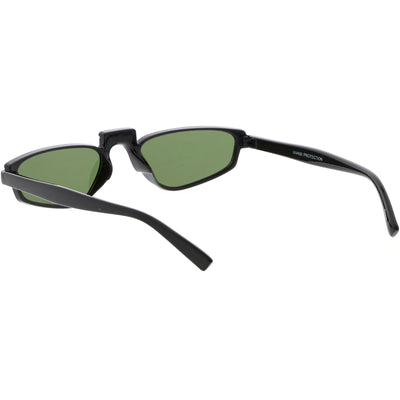 Retro Modern Low Temple Narrow Flat Top Sunglasses C731