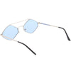 Retro Hexagon Diamond Shaped Color Toned Flat Lens Sunglasses C754