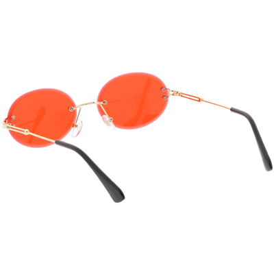 Retro Small Round Oval Color Tone Rimless Sunglasses C757