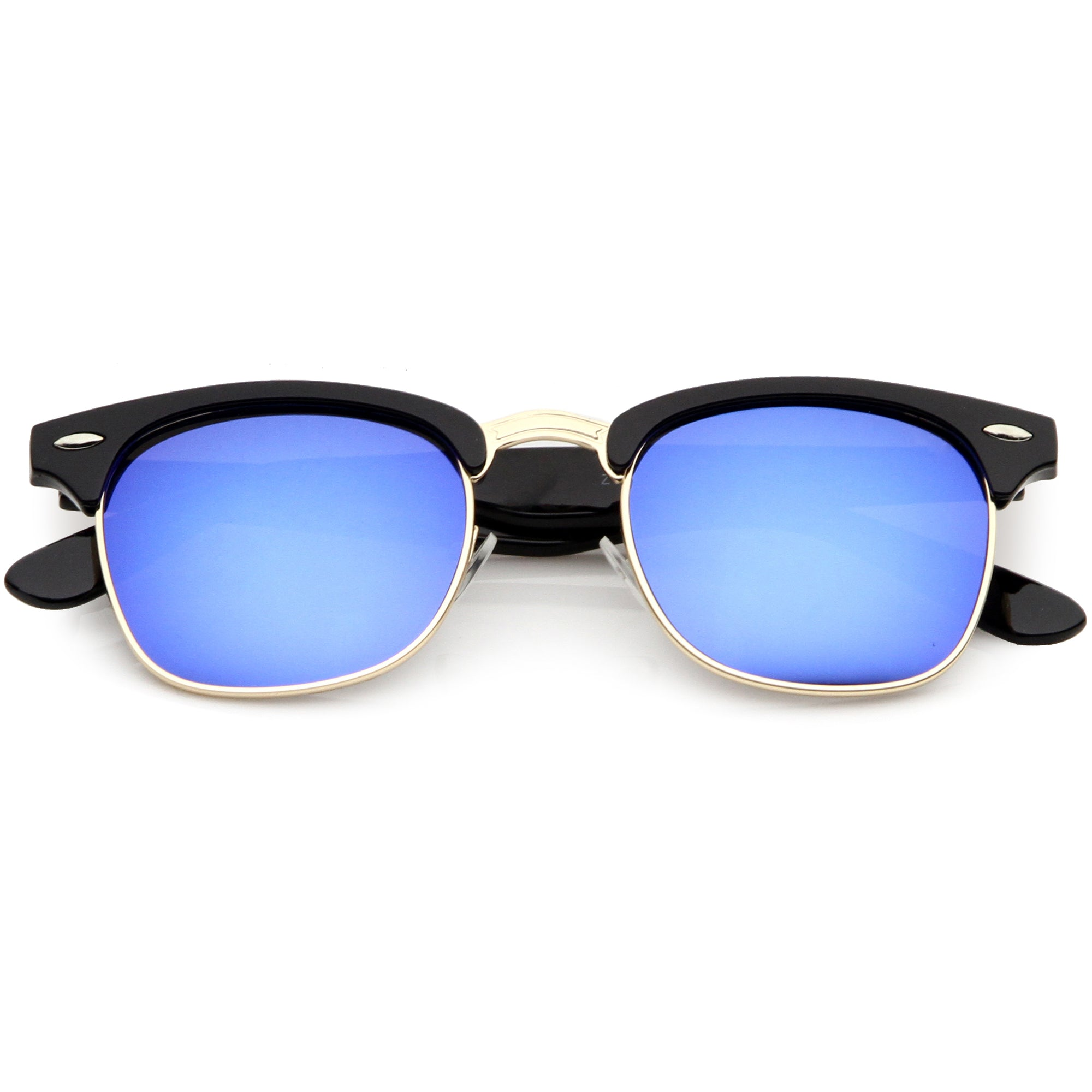 Classic Square Colored Mirrored Lens Horn Rimmed Sunglasses C772