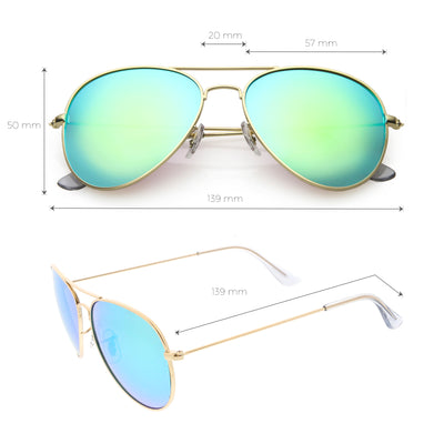 Classic Metal Colored Mirror Lens Aviator Sunglasses C775