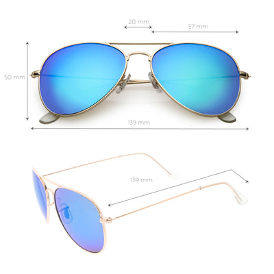 Classic Metal Colored Mirror Lens Aviator Sunglasses C776