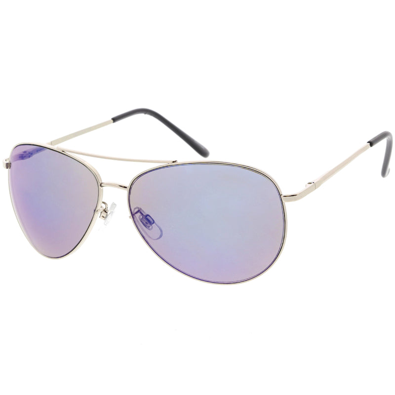 Classic Round Colored Mirror Lens Aviator Sunglasses C780