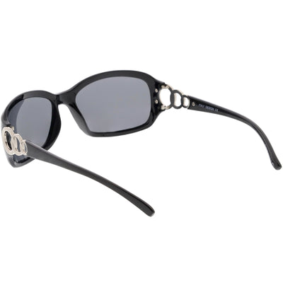 Oversize Metal Chain Accent Polarized Lens Rectangle Sunglasses C784