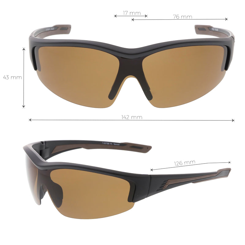 Performance TR-90 Semi Rimless Sports Wrap Polarized Sunglasses C801