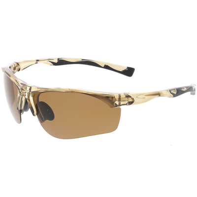 Premium Half Frame Polarized TR-90 Sports Wrap Sunglasses C818 70mm