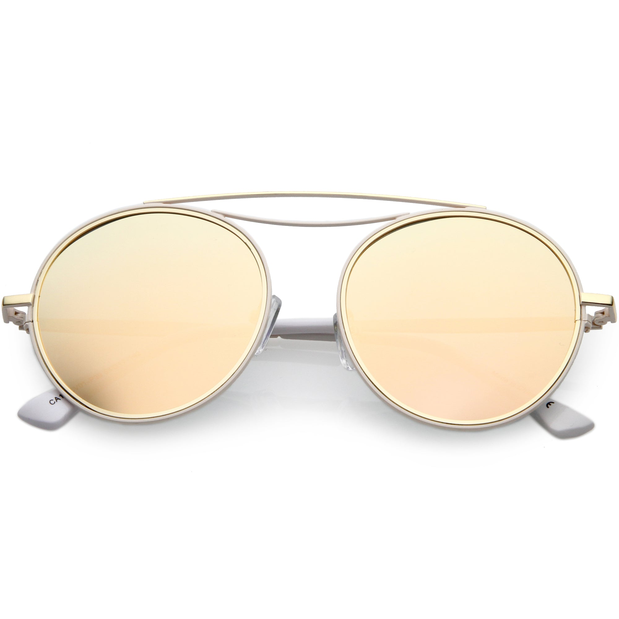 Retro Polarized Round Metal Aviator Mirrored Lens Sunglasses C821