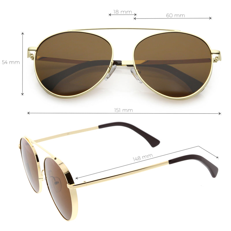 Oversize Retro Modern Round Top Bar Flat Lens Aviator Sunglasses C826