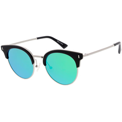 Women's Polarized Round Horned Rim Half Frame Sunglasses C828