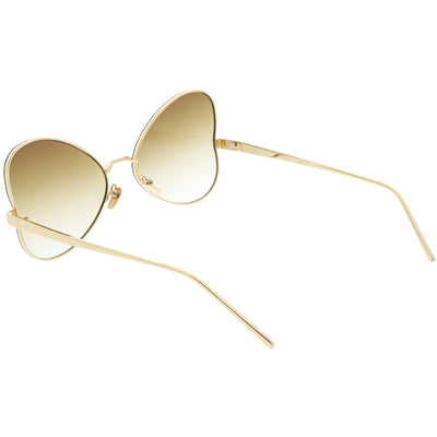 Women's Retro Oversize Metal Flat Lens Butterfly Sunglasses C833