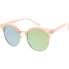 Women's Round Horned Rim Flat Mirrored Len Sunglasses C839