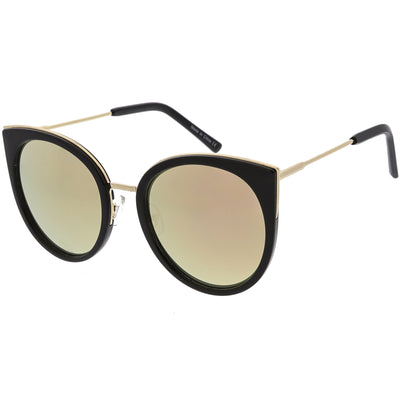 Women's Oversize Round Flat Mirrored Lens Cat Eye Sunglasses C841