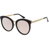 Women's Oversize Round Cat Eye Mirrored Flat Lens Sunglasses C842