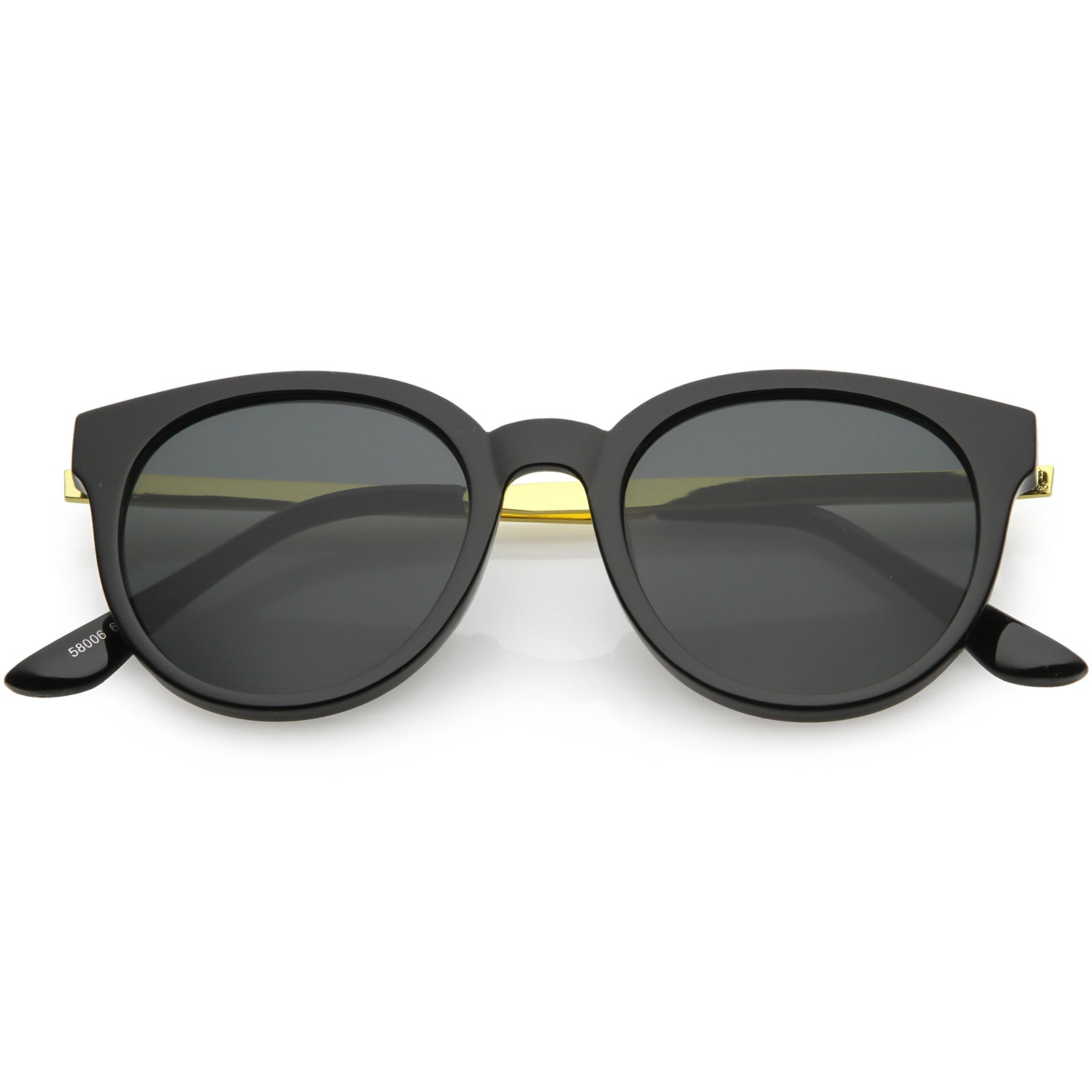Indie Retro Modern Thick Horned Rim Flat Lens Sunglasses C844