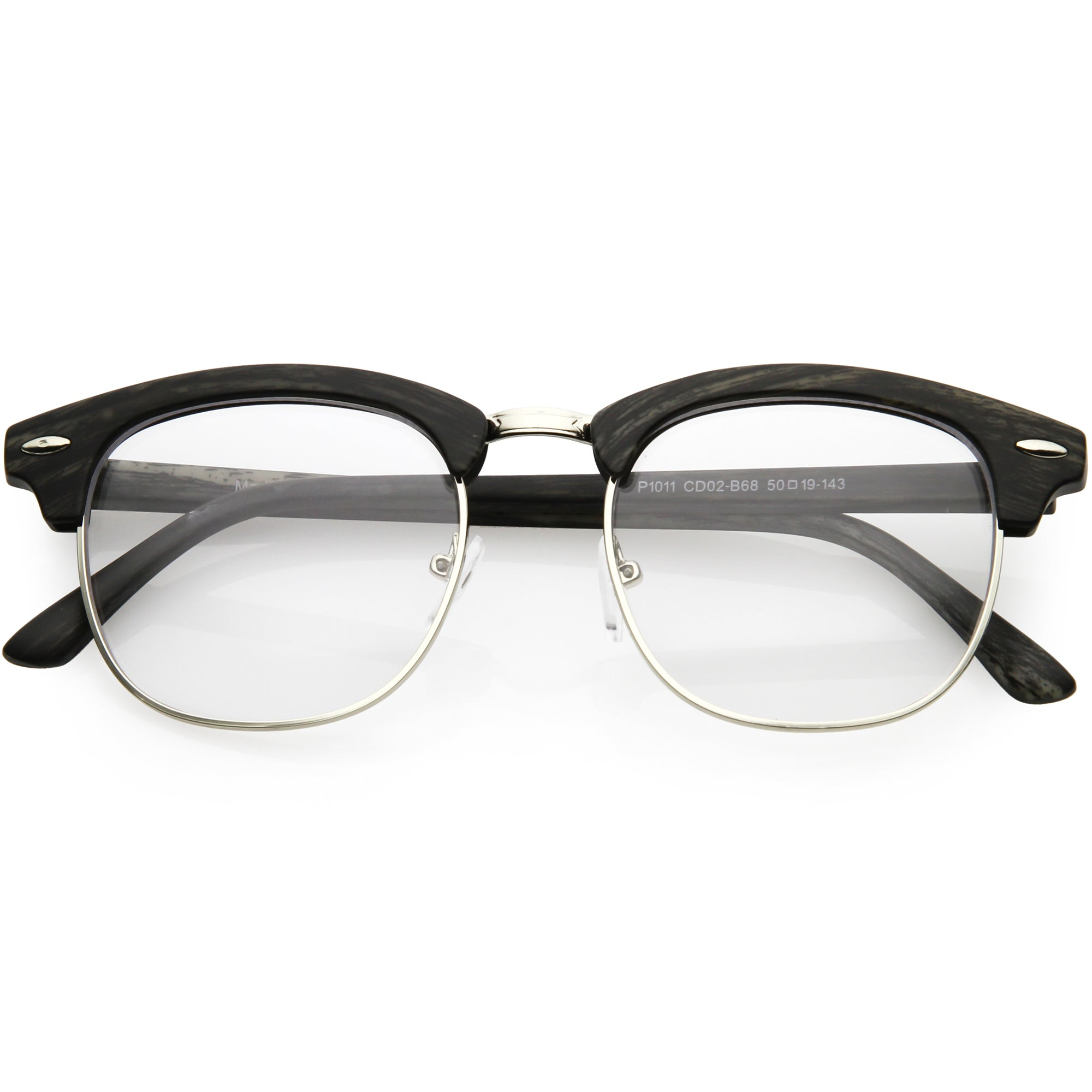 3b45606fb0 Matte Black Wood Clear. Matte Black Wood Clear · Classic Dapper Half Frame  Horned Rim Clear Lens Glasses C846