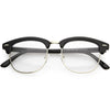 Classic Dapper Half Frame Horned Rim Clear Lens Glasses C846