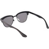 Faux Wood Half Frame Horned Rim Cat Eye Sunglasses C847
