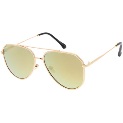 Oversize Retro Modern Mirrored Flat Lens Aviator Sunglasses C849