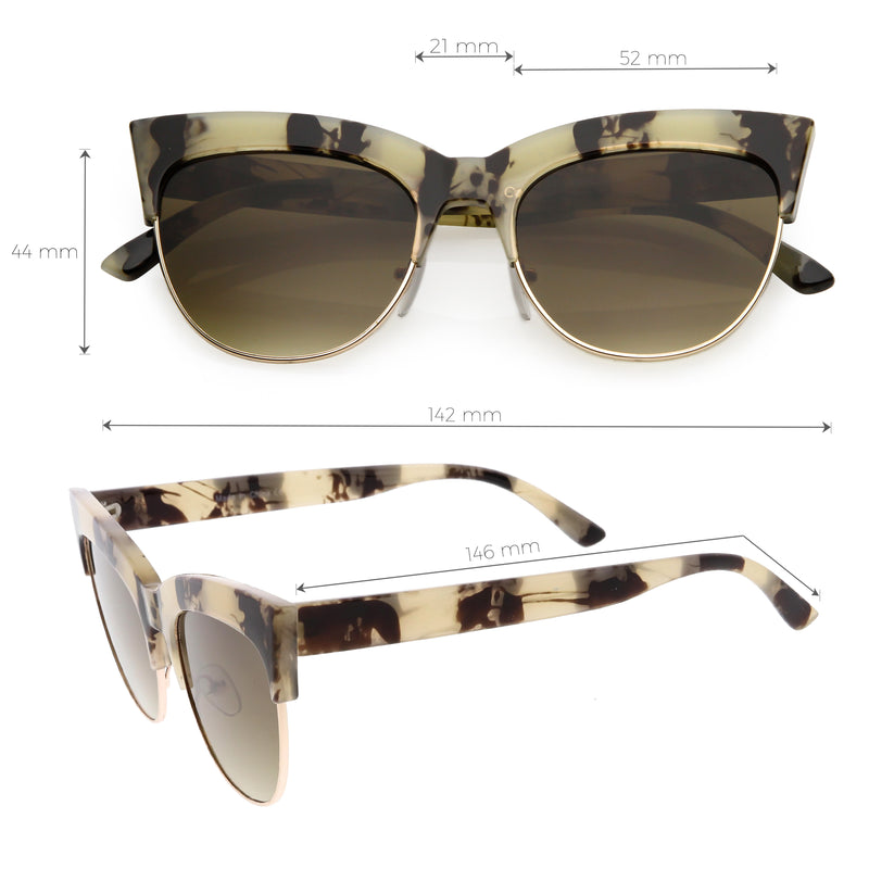 Women's Modern Hot Tip Pointed Half Frame Cat Eye Sunglasses C852