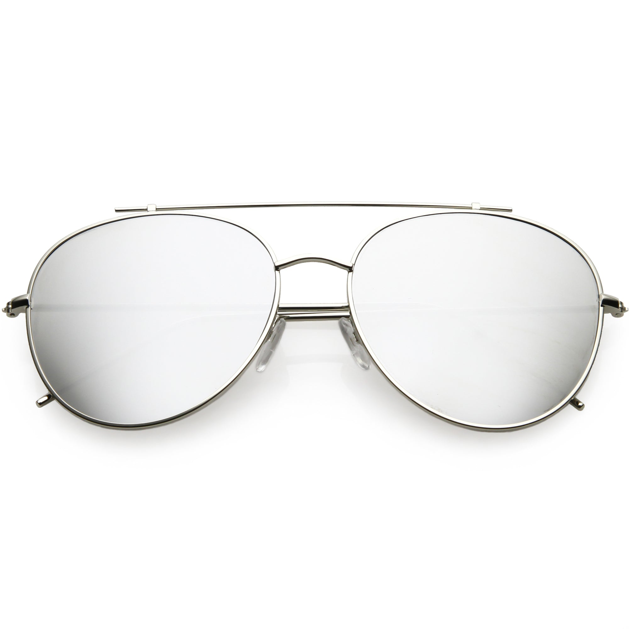 Oversize Retro Modern Mirrored Flat Lens Aviator Sunglasses C856